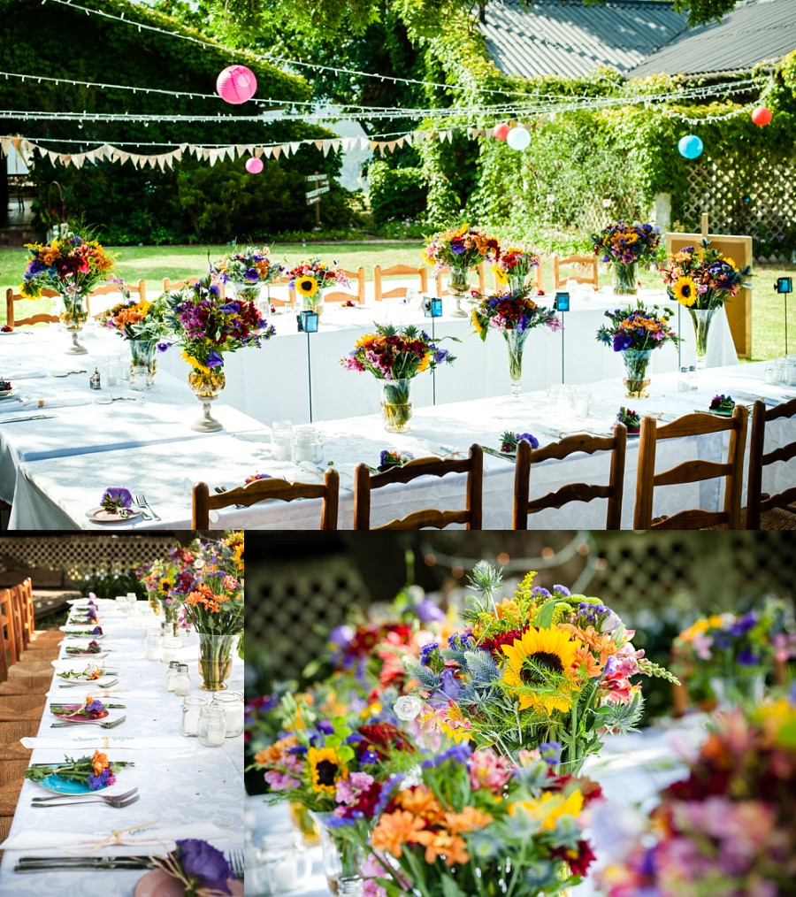 Colourful vintage farm wedding